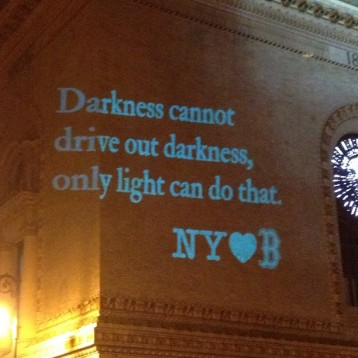 Projection on wall of the Brooklyn Academy of Music on the evening of April 15, 2013.